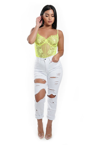 Neon Yellow Lace Bodysuit