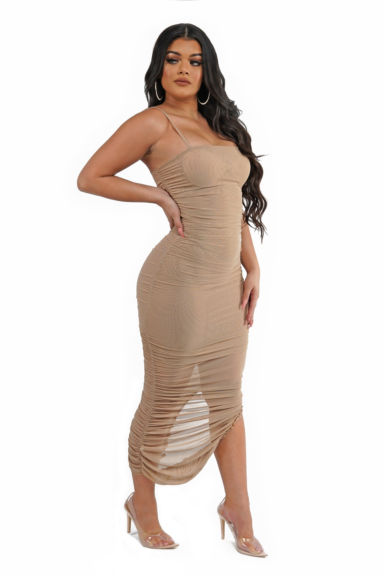 Tan Mesh Ruched Midi Dress
