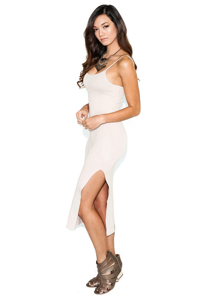 Nude Spaghetti Strap Fitted-Dress