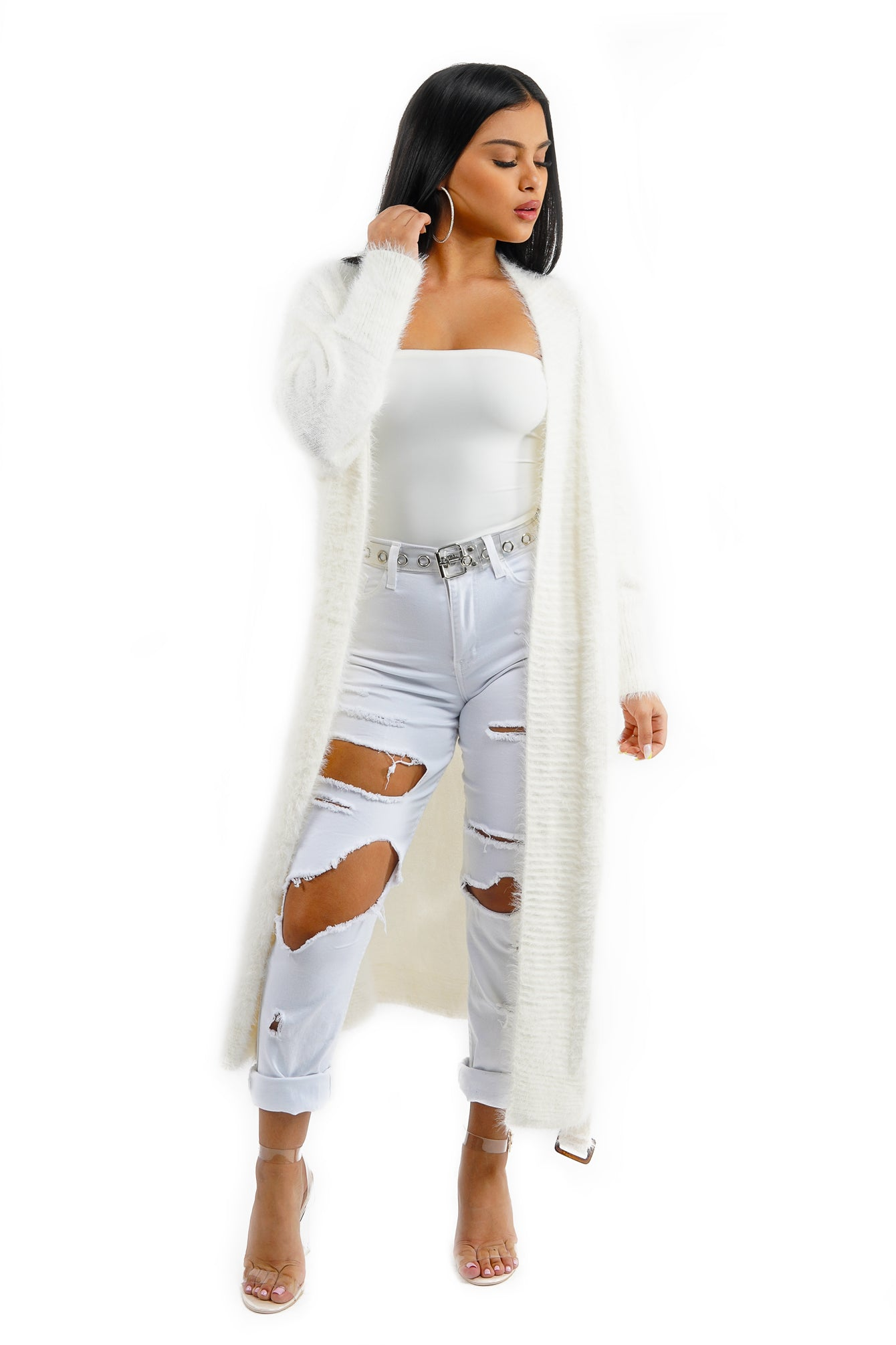 Off White Long Knit Cardigan