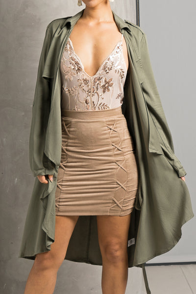 Olive Green Draped Flowy Trench Jacket