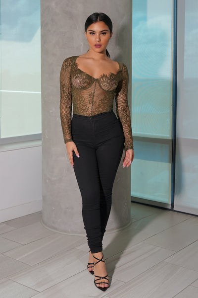 Olive Lace Long Sleeve Bodysuit