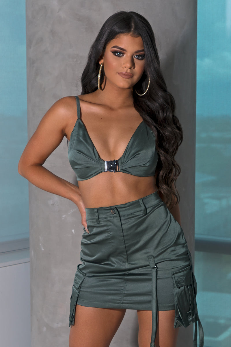 Olive Satin Mini Skirt Set