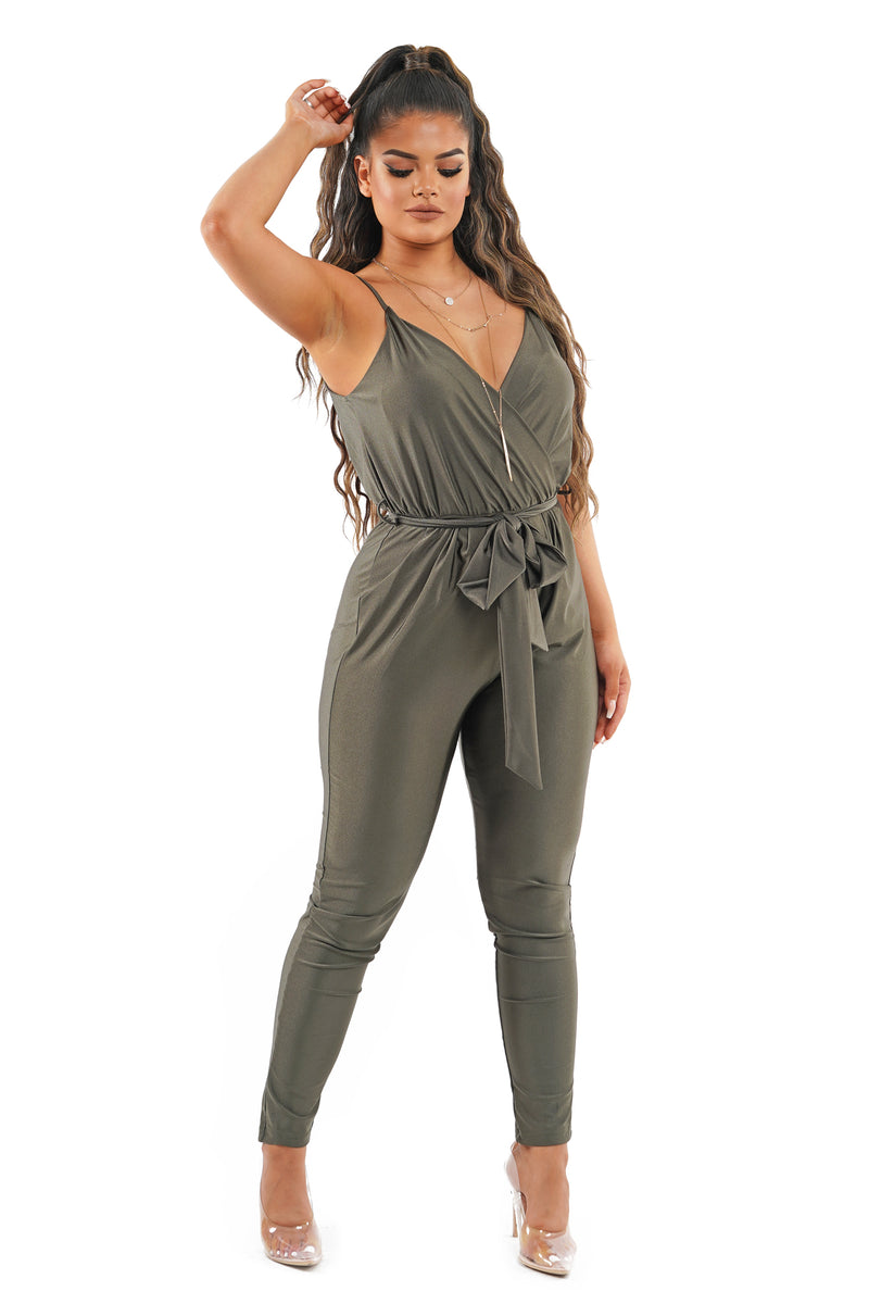 Olive Surplice Self-Tie Belt Jumpsuit