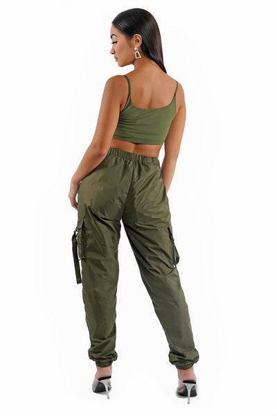 Olive Green Jogger Track Pants Set
