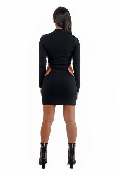 Black Cut Out Bodycon Knit Dress
