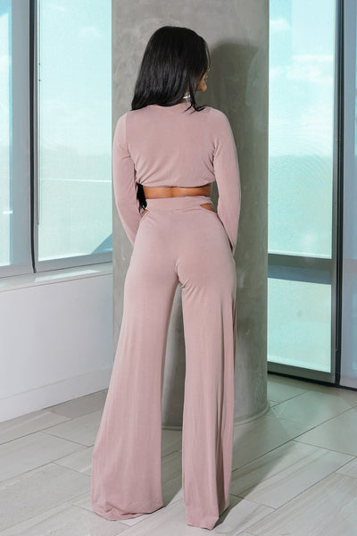 Blush Pink Long Sleeve Pant Set
