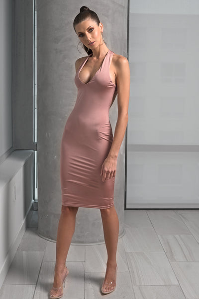 Pink Cross Strap Open Back Mini Dress