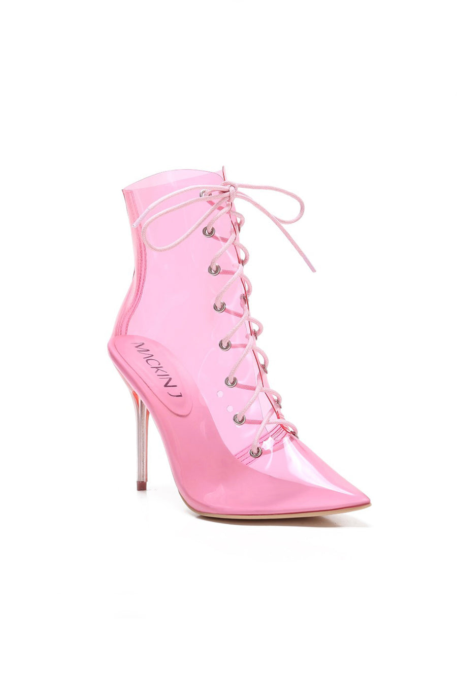 Pink Transparent Pointy Toe Ankle Booties