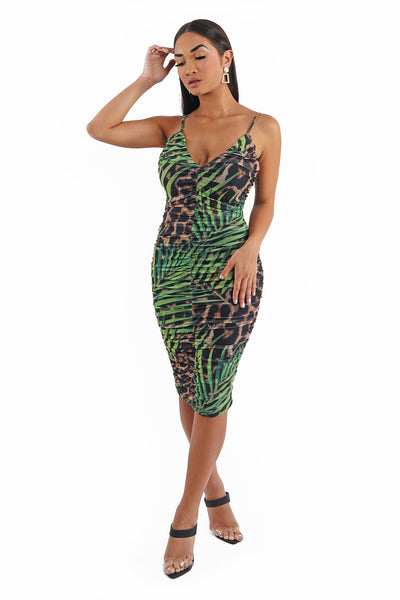 Palm Print Ruched Midi Dress