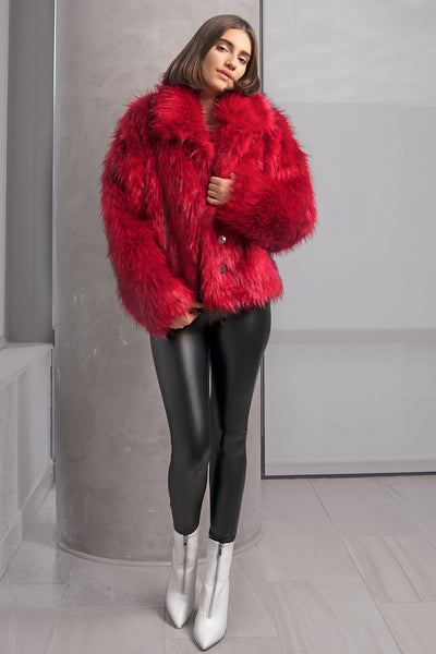 Red Faux Fur Jacket