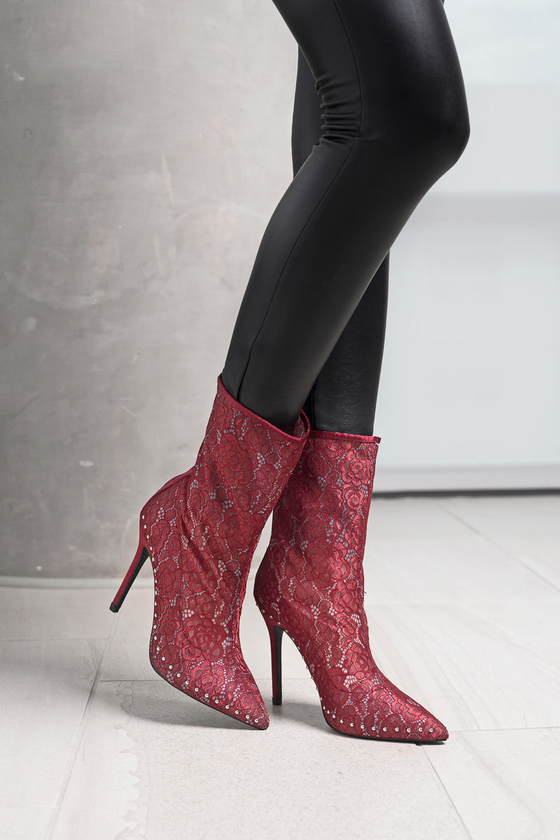 Red Lace Studded Booties