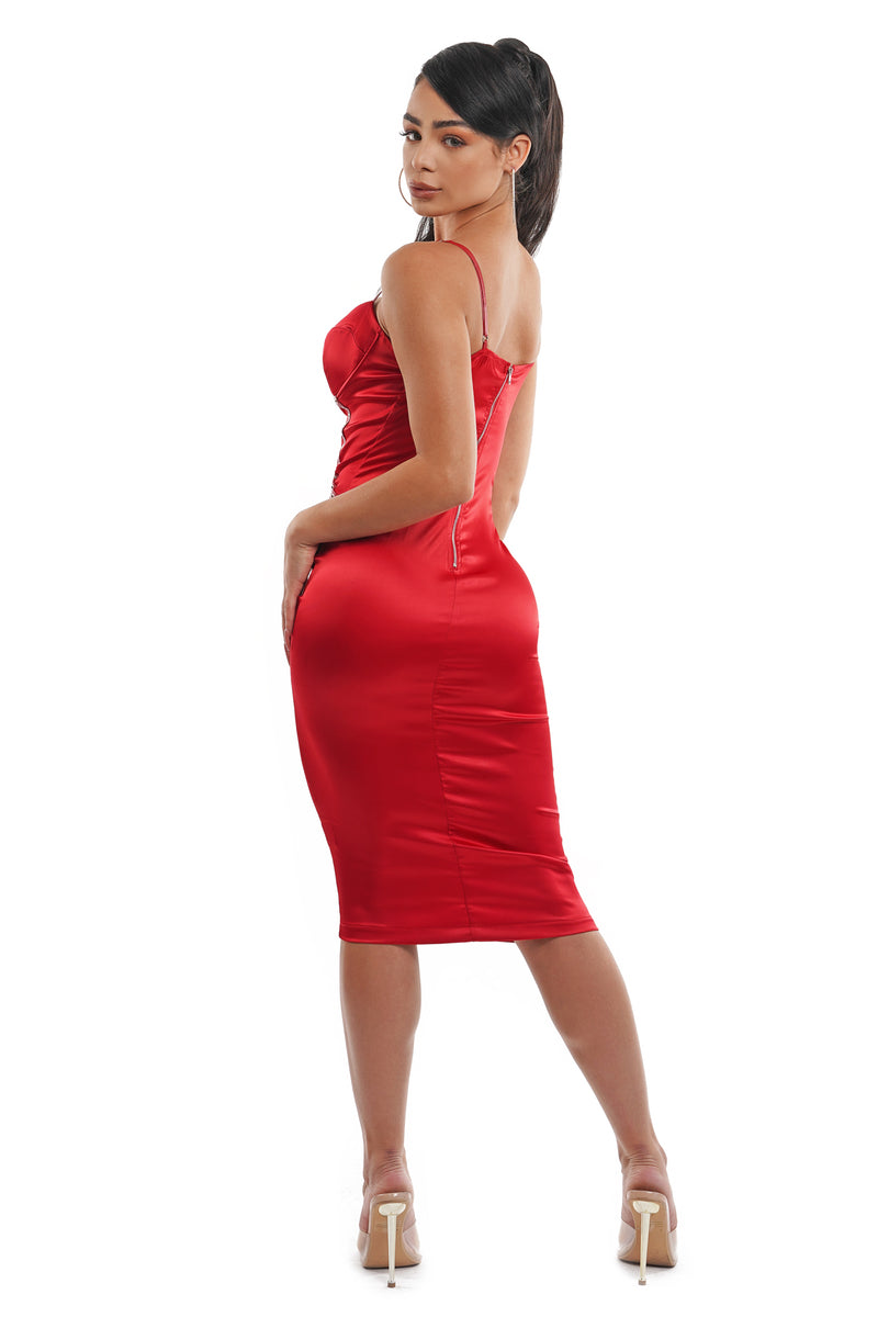Red Satin Eyelet Cami Midi Dress