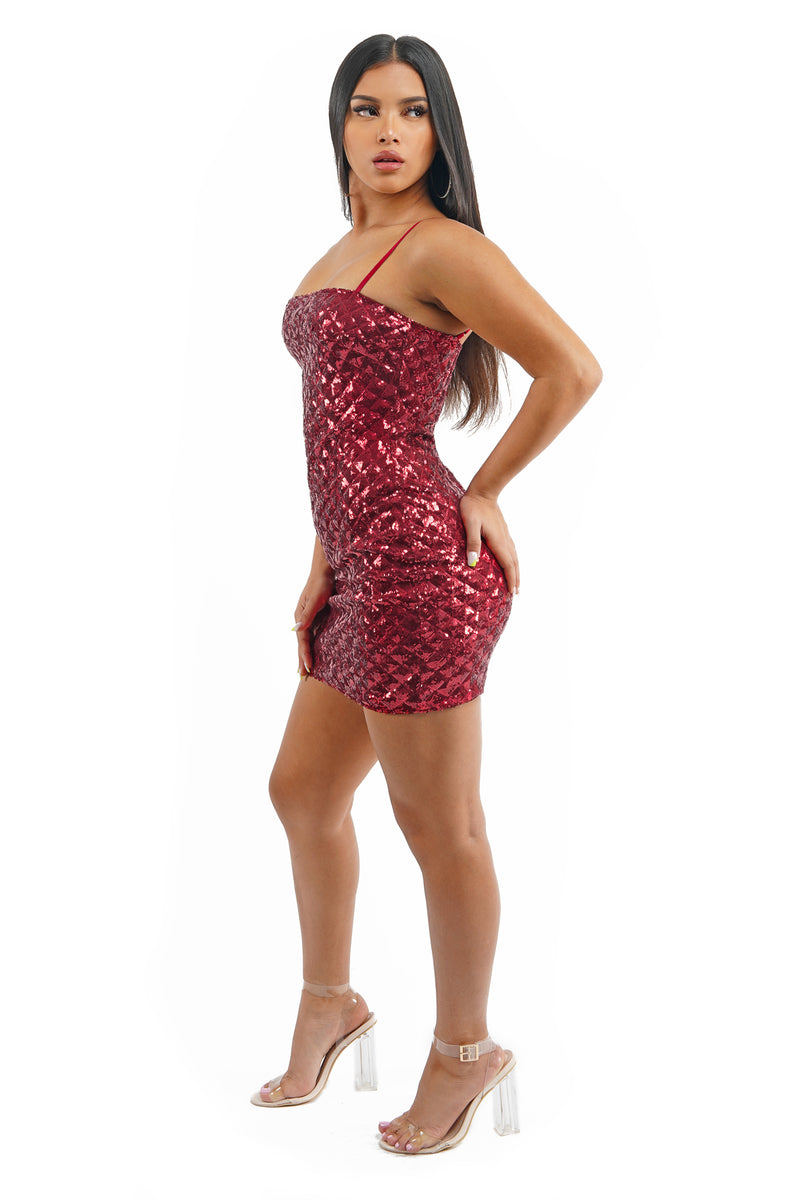 Red Sequin Mini Dress