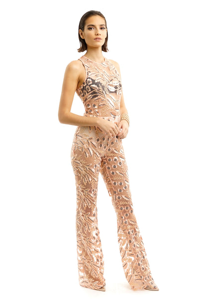Rose Gold Floral Leaf Embroidery Jumpsuit
