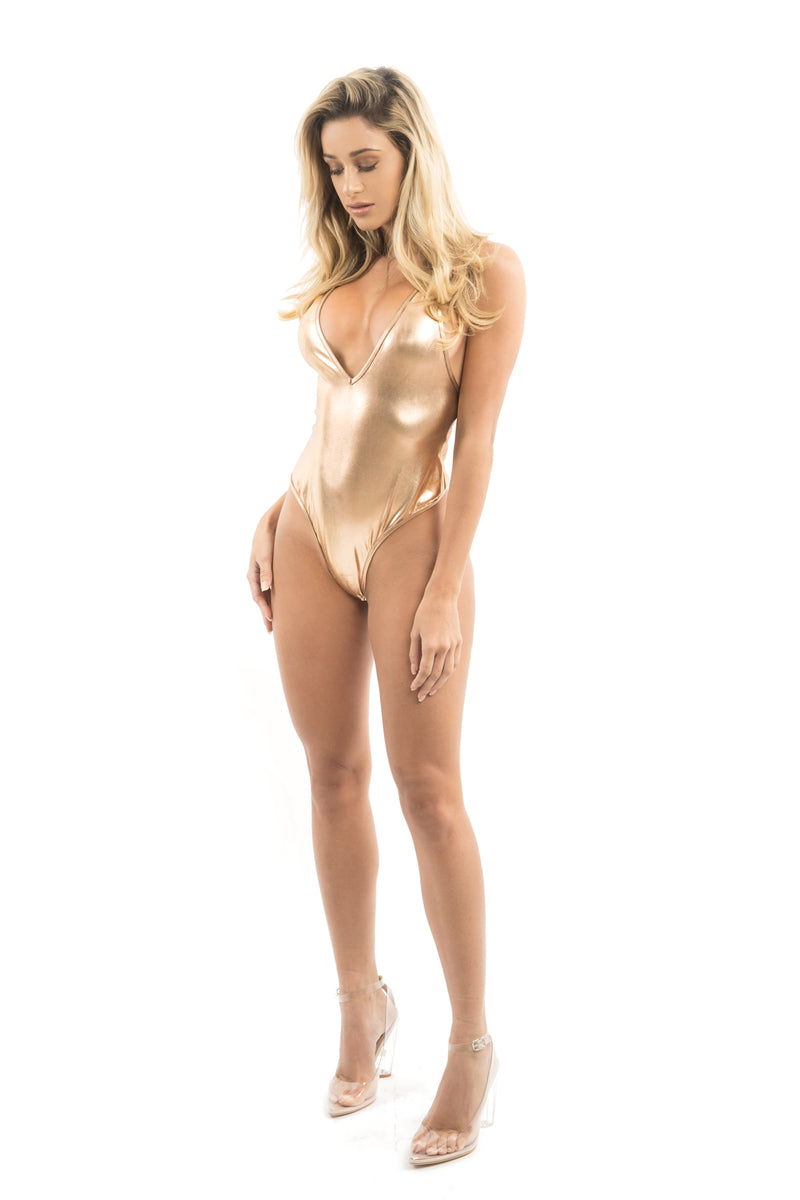 Rose Gold Metallic Deep V Bodysuit