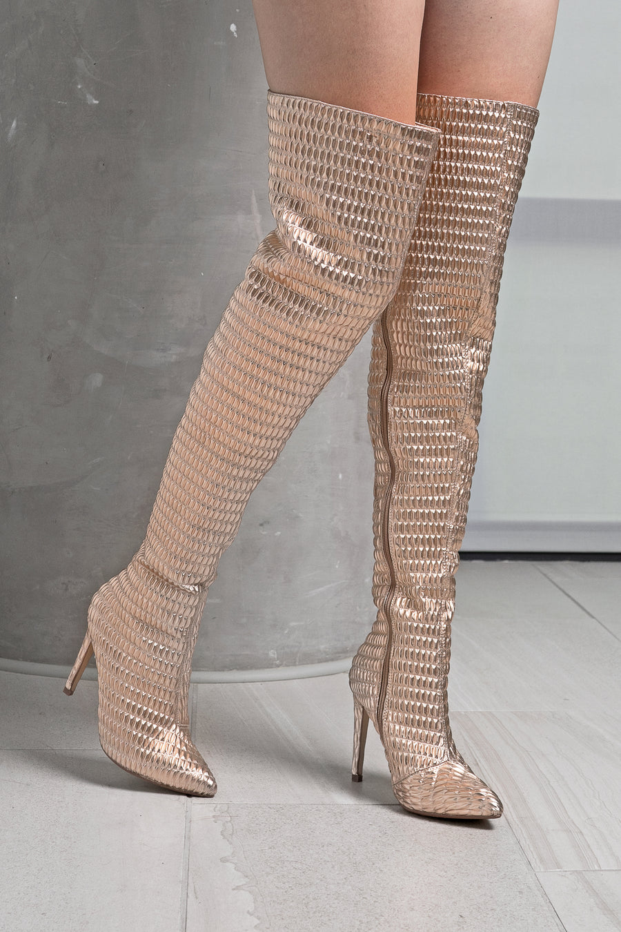 Metallic Over The Knee Boots