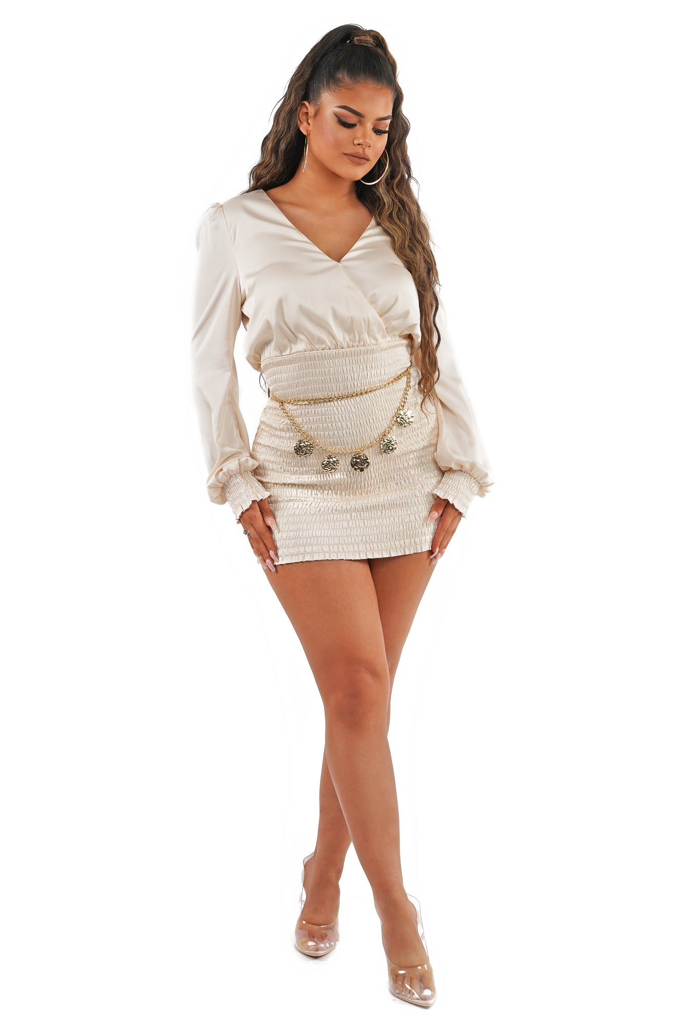 Satin Bishop Sleeve Scrunch Mini Dress