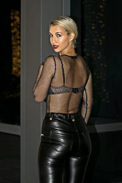 Black Mesh Shimmer Bodysuit Top