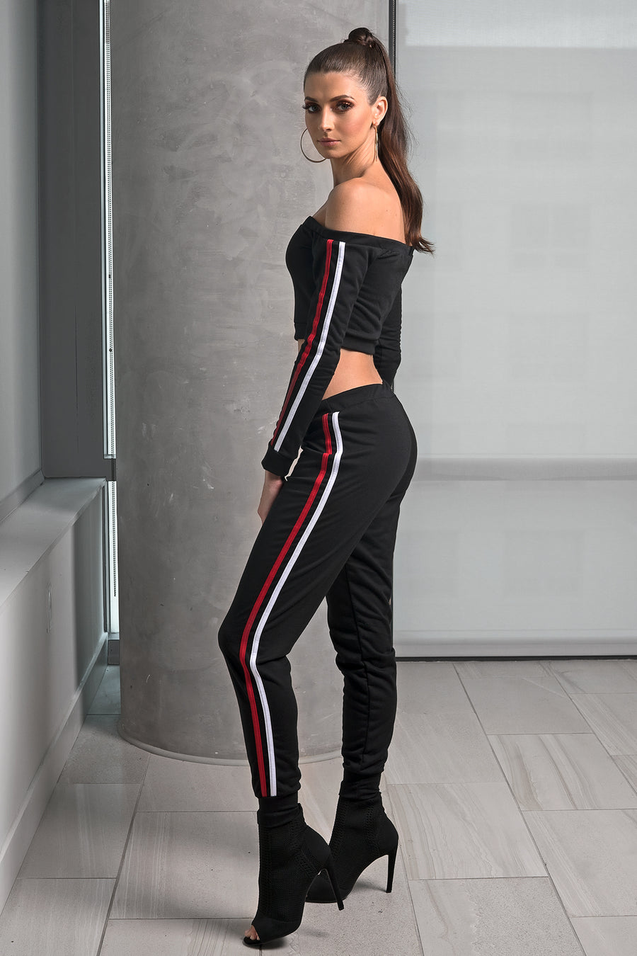 Side Stripe Cuff Leggings Set