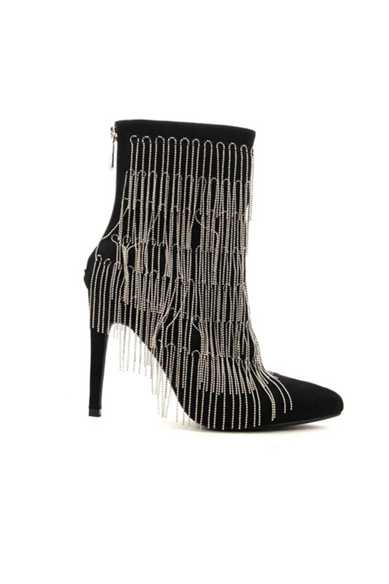 Silver Chain Fringe Black Ankle Booties