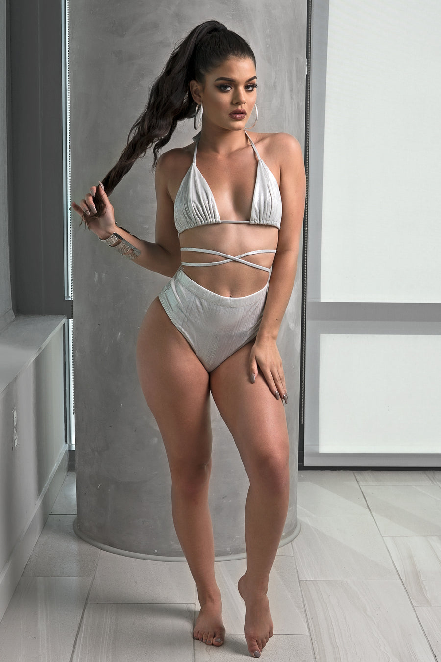 Silver Metallic High Waist Bikini