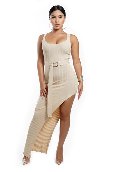 Soft Taupe Sleeveless Thigh Slit Maxi Dress