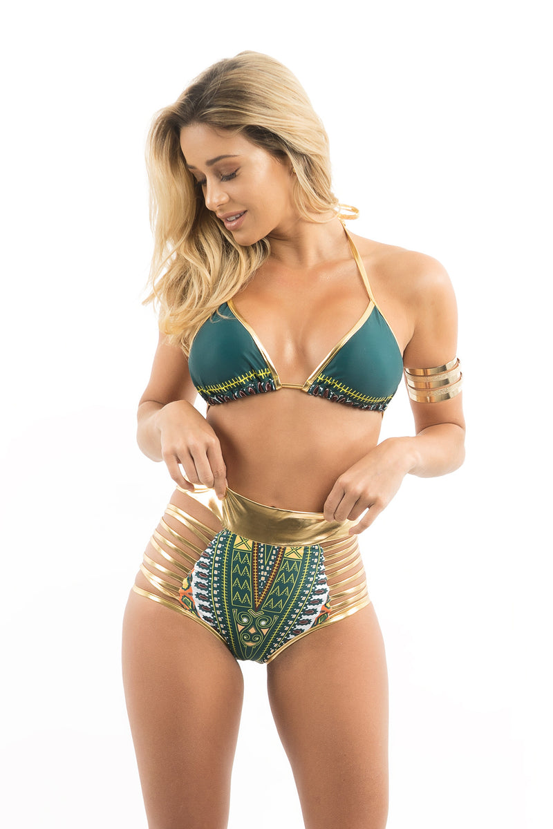 Tribal Print Gold High Waist Bikini