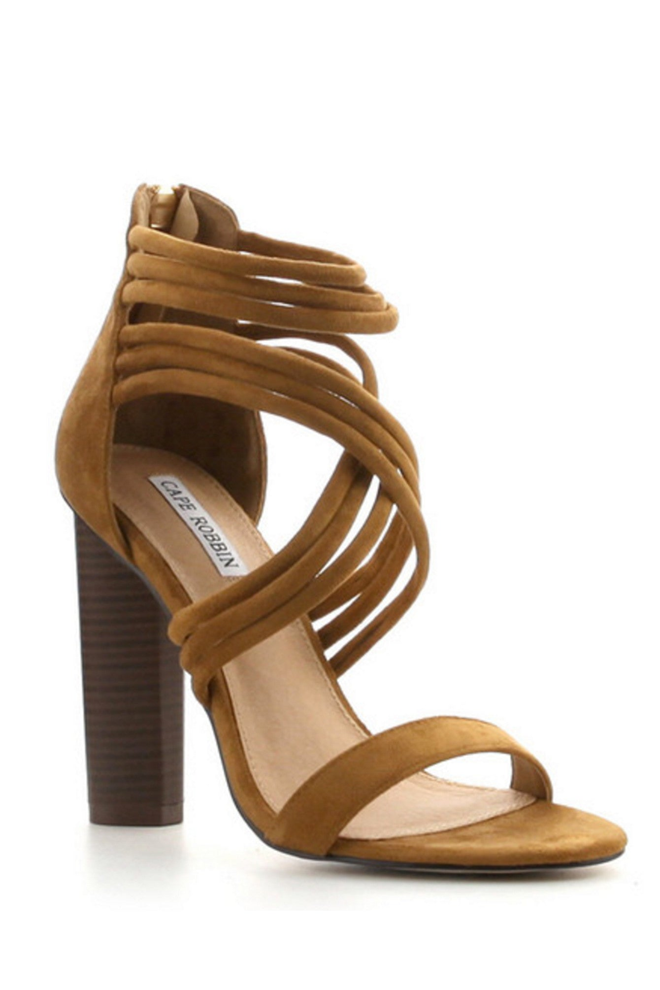 Camel Front Cross Strap Chunky High Heel