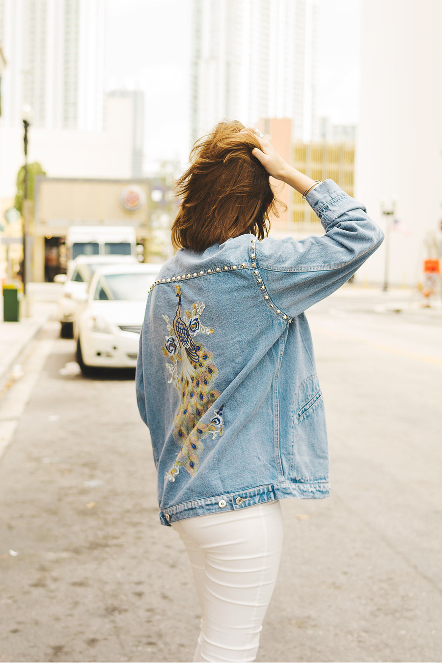 Denim Studded Embroidered Jacket