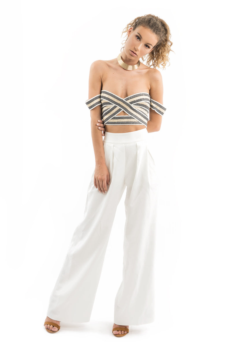 WHITE WIDE LEG TROUSER PANT