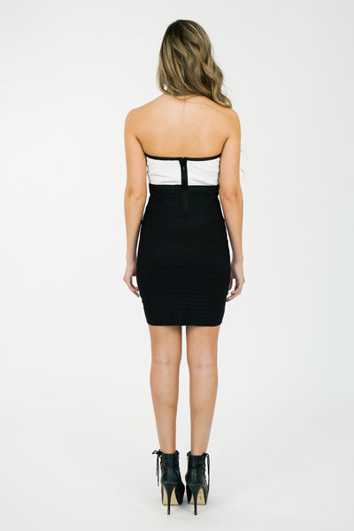 Style-Link-Miami  | black-white-two-tone-strapless-bandage-dress-back