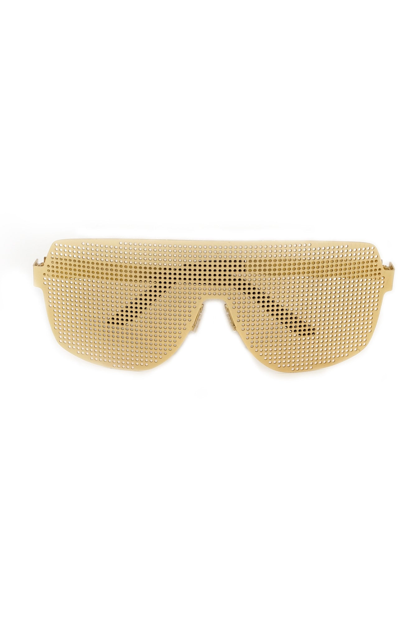 Gold Front Metal Panel Flat Top Sunglasses