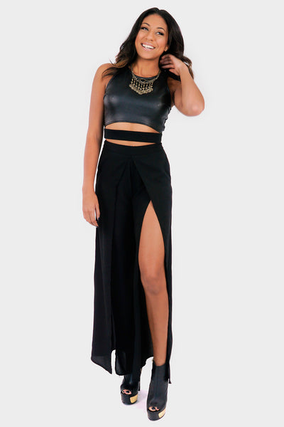 Style Link Miami black long-flaired split fitted pants