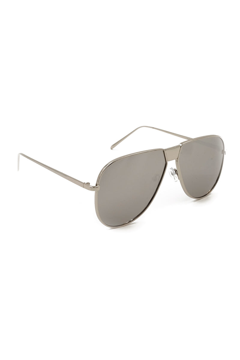 Silver Mirror Lens Aviator Mirror Sunglasses