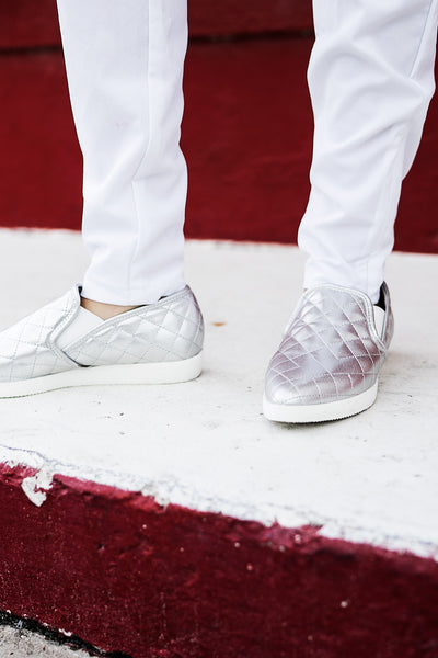 Silver Quilted Pattern Slip On Sneaker