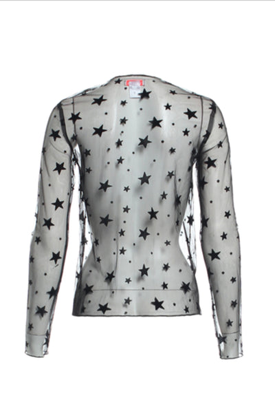 Long Sleeve Sheer Star Top