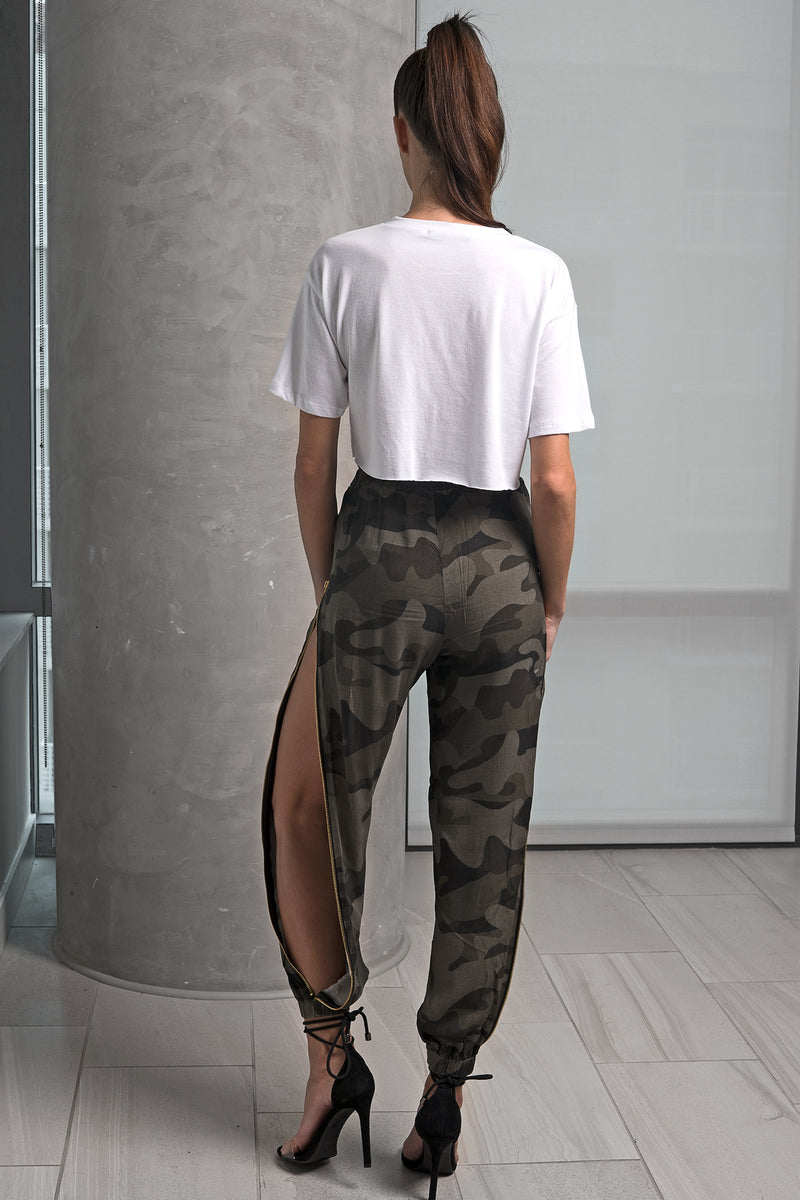 Camouflage Side Zip Up Pants