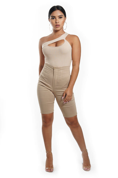 Taupe High Waist Biker Shorts