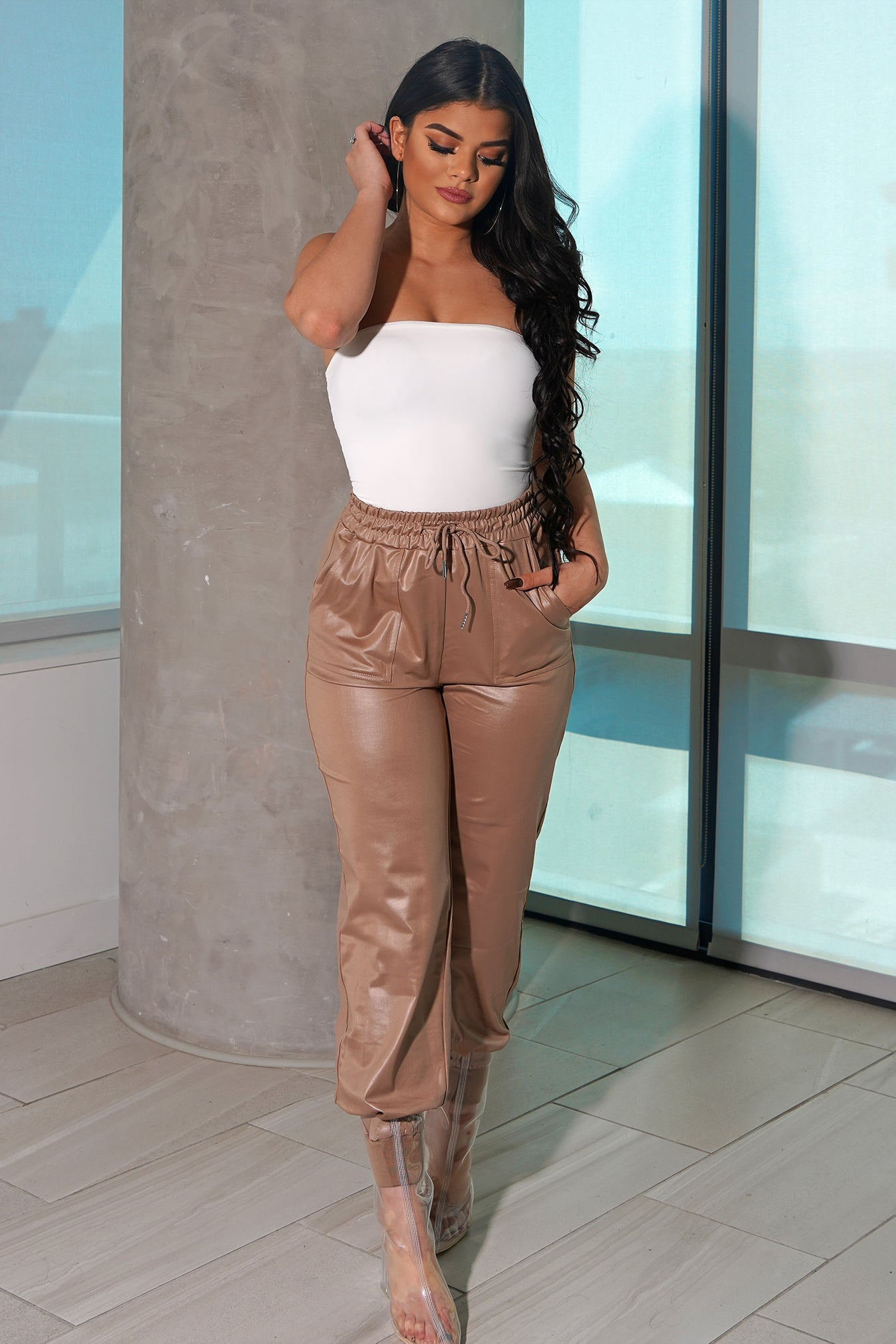 Taupe High Shine Jogger Pants