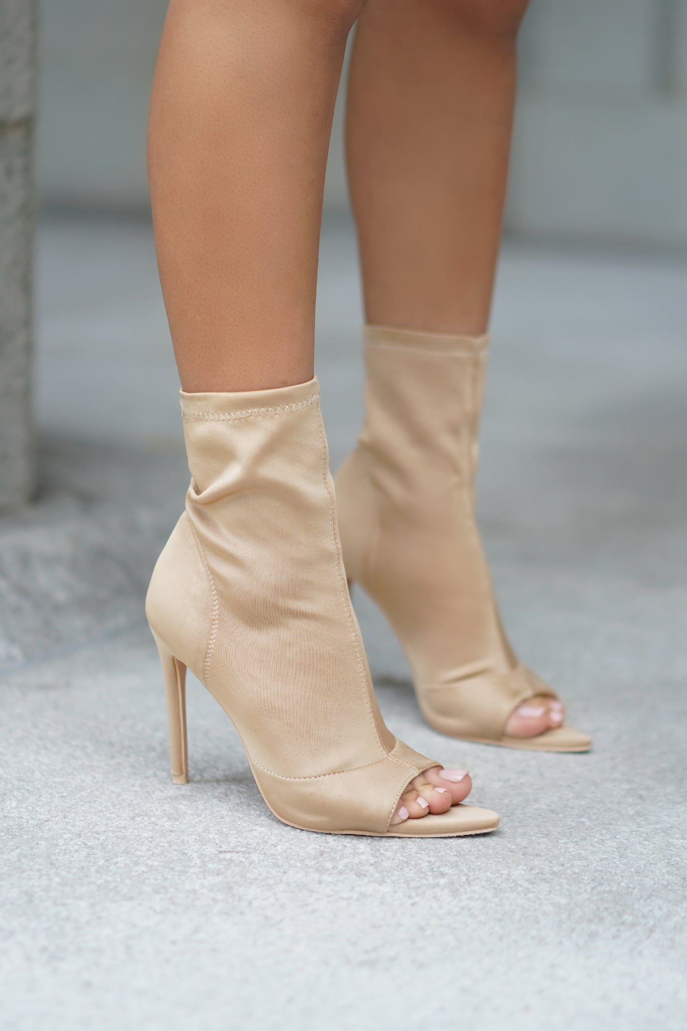 Taupe Pointy Triangle Peep Toe Booties