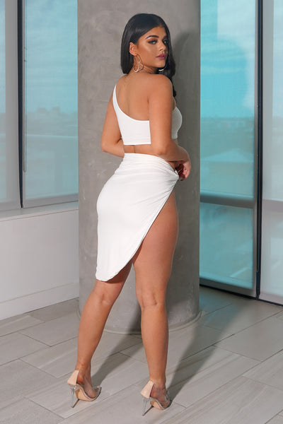 White Asymmetrical Skirt Set
