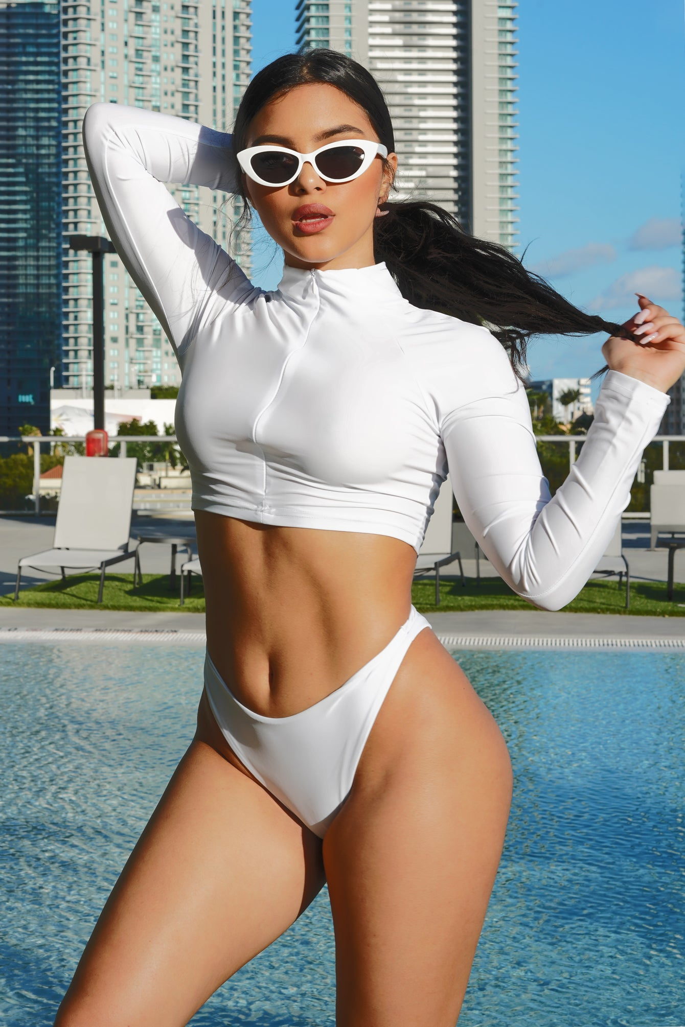 White Zip Up Top Bikini Set