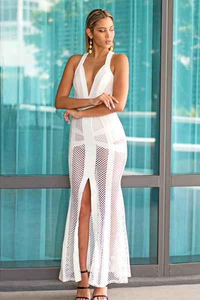 White Fishnet Long Maxi Dress