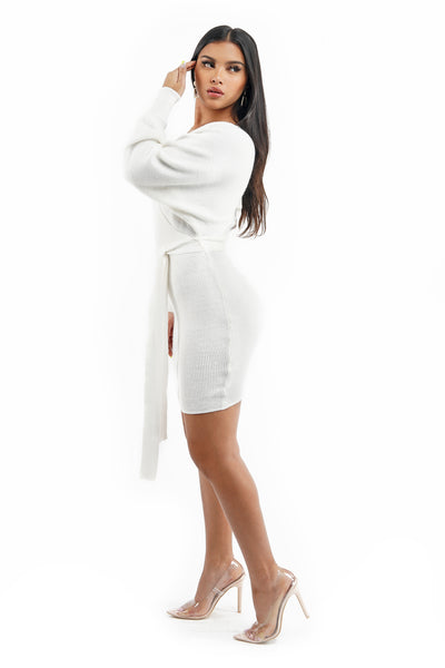 White Knit Long Sleeve Wrap Front Dress