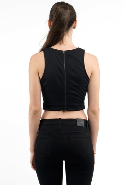 Black Banded Panel Crop Top