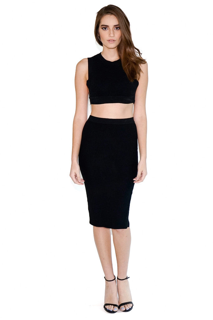 Black Two Piece Ribbed Stretch Set