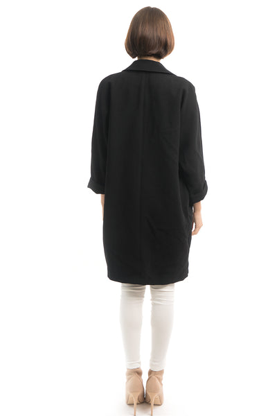 Black Lapel Over-Coat