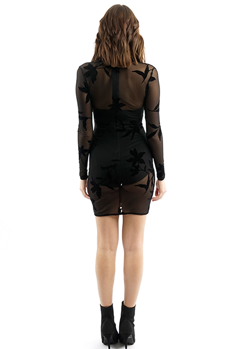 Black Sheer Mesh Mini Dress