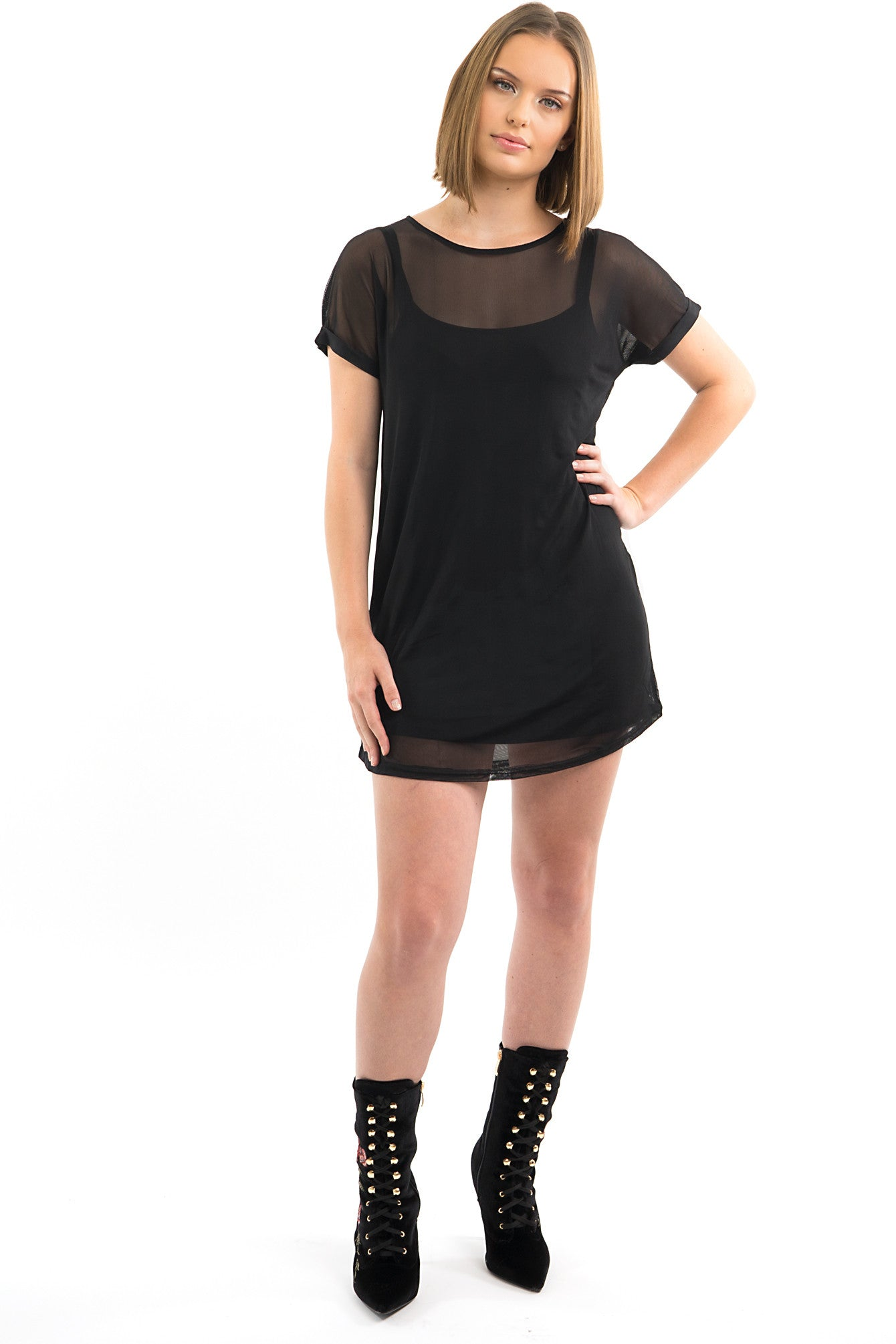 Black Short Sleeve Mesh T-Shirt Dress